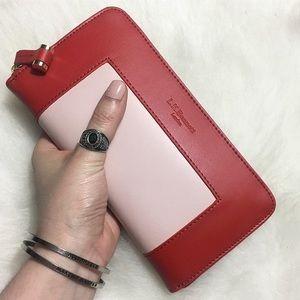 "LK Bennett ""Kenza Red Pink Leather Purse"" Wallet"